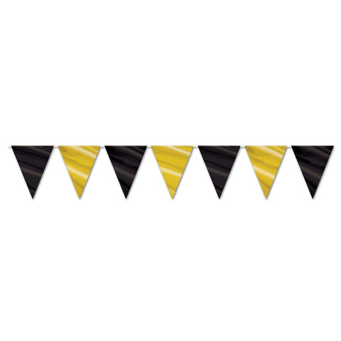 "Black & Gold Pennant Banner, Size 11"" x 12'"