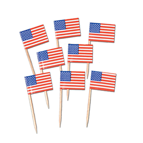 Pkgd U S Flag Picks, Size 2½""