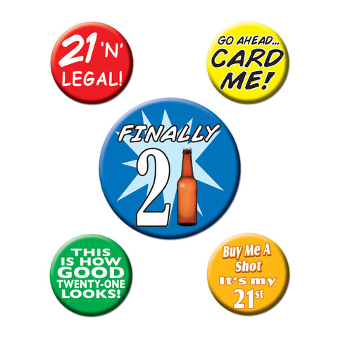 "21st Birthday Party Buttons, Size 2-1/3"" & 1-1/3"""
