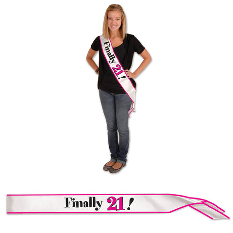 "Finally 21! Satin Sash, Size 33"" x 4"""