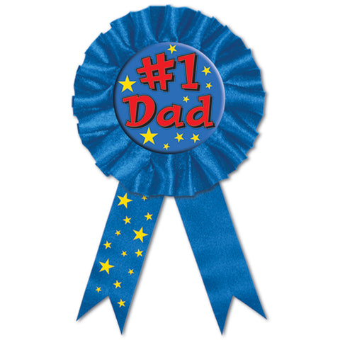 "#1 Dad Award Ribbon, Size 3¾"" x 6½"""