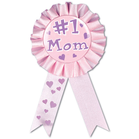 "#1 Mom Award Ribbon, Size 3¾"" x 6½"""