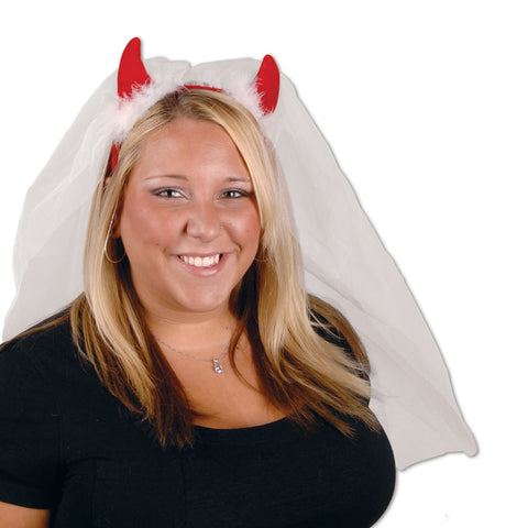 Devil Horns Headband w/Veil