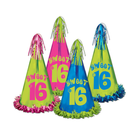 Fringed Foil Sweet 16 Party Hats, Size 12½""