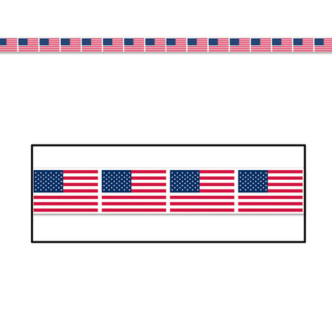 "American Flag Party Tape, Size 3"" x 20'"