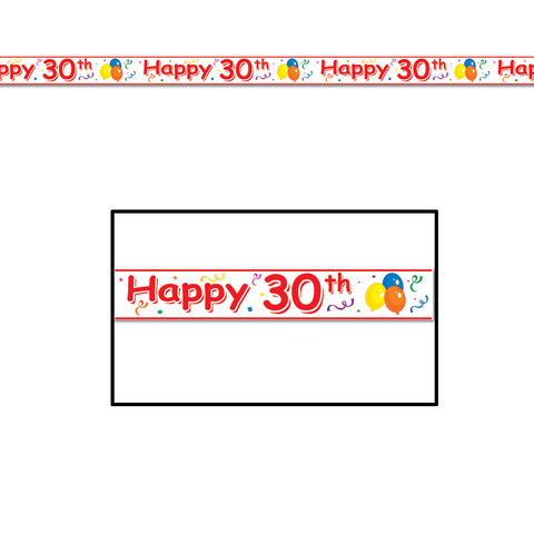 "Happy  30th  Birthday Party Tape, Size 3"" x 20'"