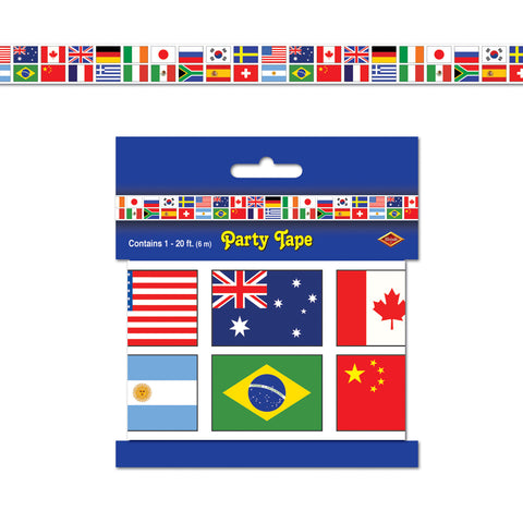 "International Flag Party Tape, Size 3"" x 20'"