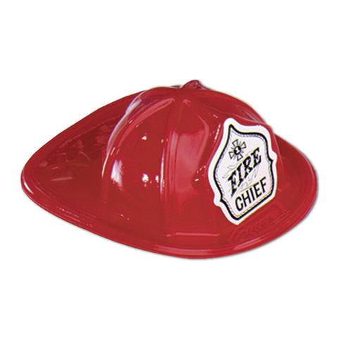 "Miniature Red Plastic Fire Chief Hat, Size 6½"" x 2½"""