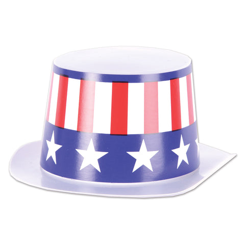"Mini White Plstc Topper w/Patriotic Band, Size 4¾"" x 2"""