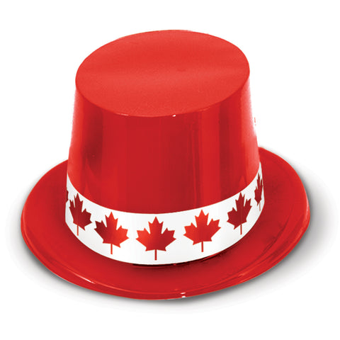 Red Plastic Topper w/Maple Leaf Band