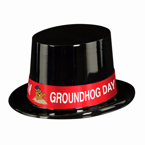 Black Plstc Topper w/Groundhog Day Band