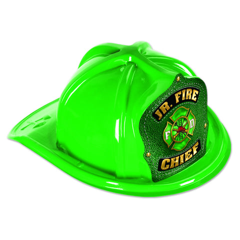 Green Plastic Jr Fire Chief Hat