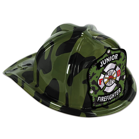 Green Camo Plastic Jr Firefighter Hat