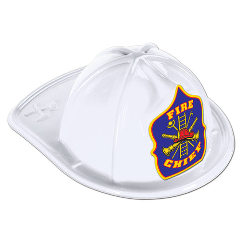 White Plastic Fire Chief Hat