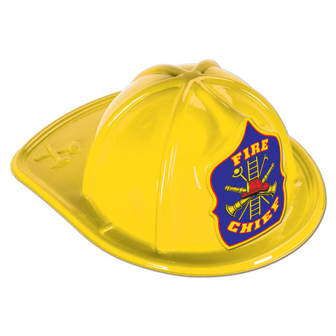Yellow Plastic Fire Chief Hat