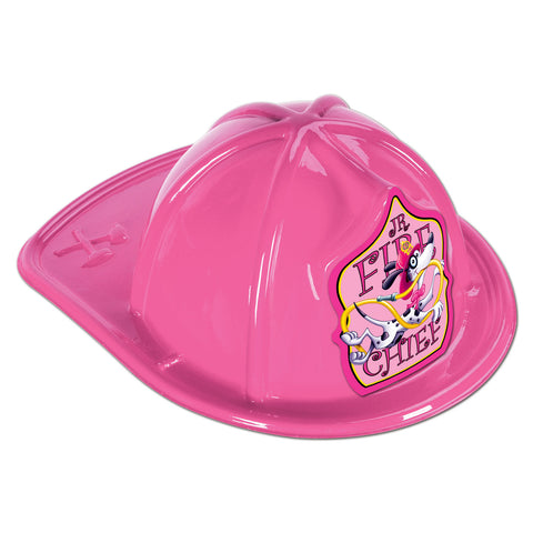 Pink Plastic Jr Fire Chief Hat