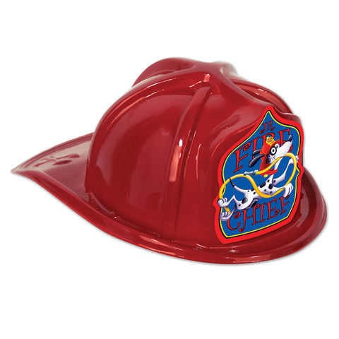 Red Plastic Jr Fire Chief Hat