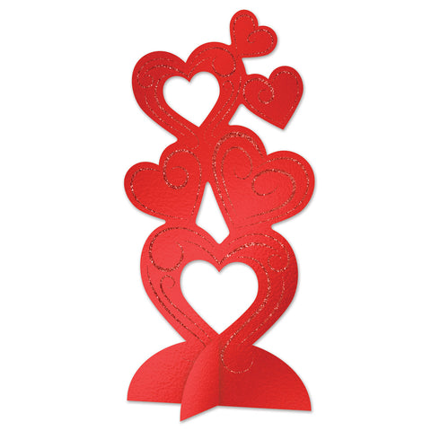 3-D Glittered Heart Centerpiece, Size 11½""