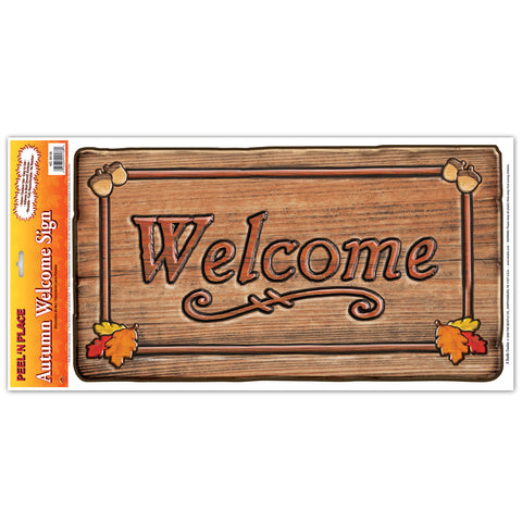 "Autumn Welcome Sign Peel 'N Place, Size 12"" x 24"" Sh"
