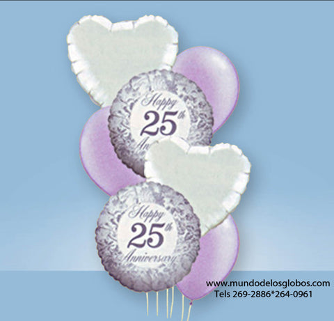 Bouquet de Happy 25th Anniversary con Corazones y Globos de Colores