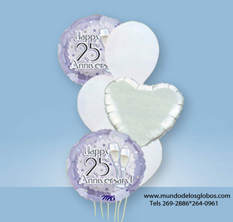 Bouquet de Happy 25th Anniversary con Copas de Champan, Corazon y Globos de Colores