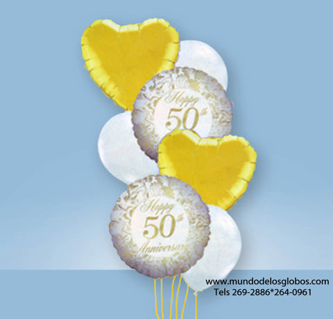 Bouquet de Happy 50th Anniversary con Corazones y Globos de Colores