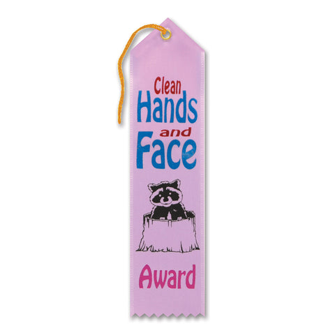 "Clean Hands & Face Award Ribbon, Size 2"" x 8"""