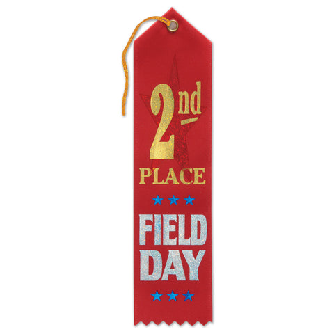 "2nd Place Field Day Award Ribbon, Size 2"" x 8"""