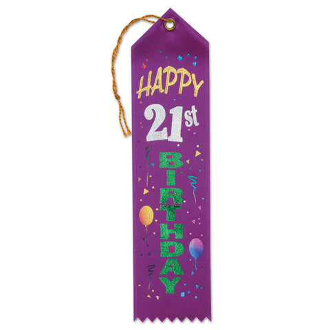 "Happy 21st Birthday Award Ribbon, Size 2"" x 8"""