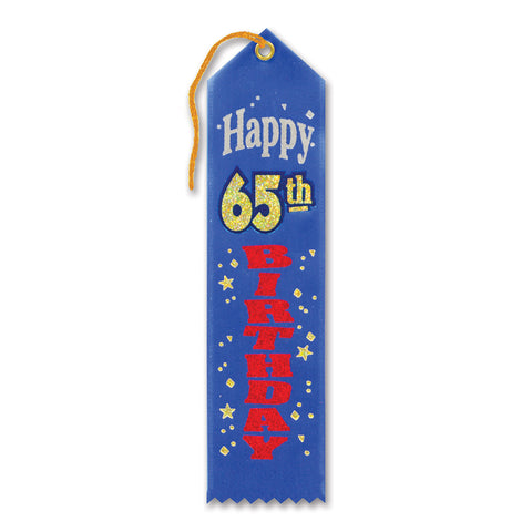 "Happy 65th Birthday Award Ribbon, Size 2"" x 8"""