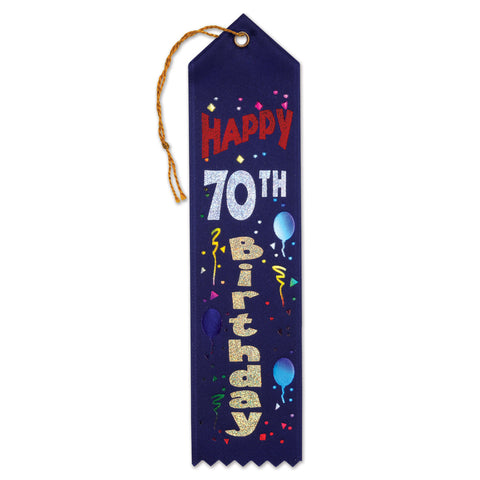 "Happy 70th Birthday Award Ribbon, Size 2"" x 8"""