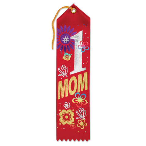 "#1 Mom Award Ribbon, Size 2"" x 8"""