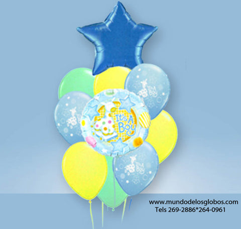 Bouquet Burbuja It's a Boy con Estrella Azul y Globos It's a Boy, Globos de Colores