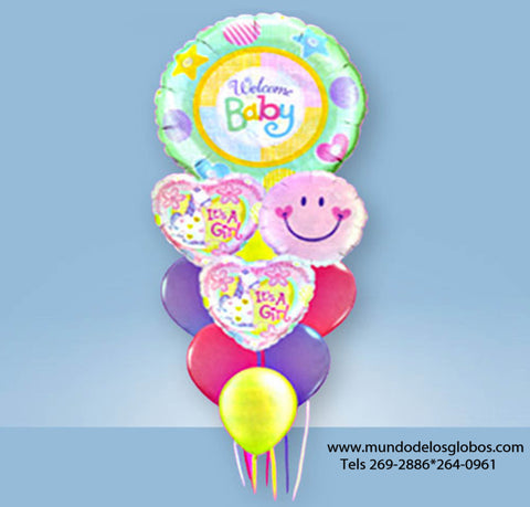 Bouquet de Globo Gigante Welcome Baby con Corazones It's A Girl, Carita Feliz y Globos de Colores