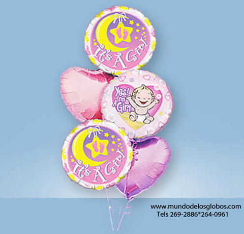 Bouquet Yes I'm a Girl con Globos de Luna It's a Girl y Corazones Rosa
