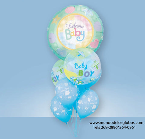 Bouquet de Globo Gigante Welcome Baby con Burbujas Baby Boy y Globos Celestes It's A Boy
