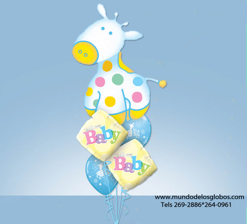 Bouquet de Caballito Gigante con Diamantes Welcome Baby y Globos de It's A Boy Celeste