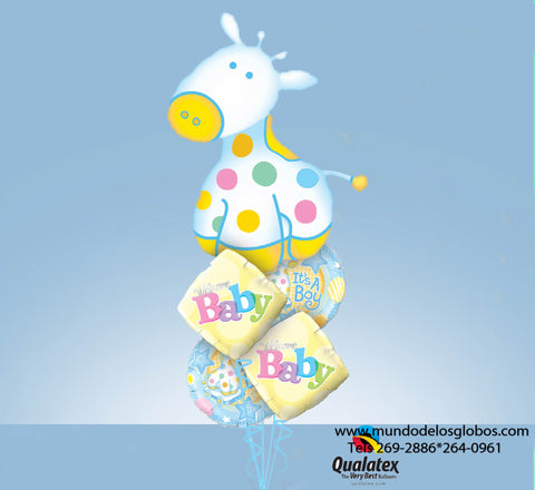 Bouquet de Caballito Gigante con Globos de Caballitos It's A Boy y Diamantes Welcome Baby