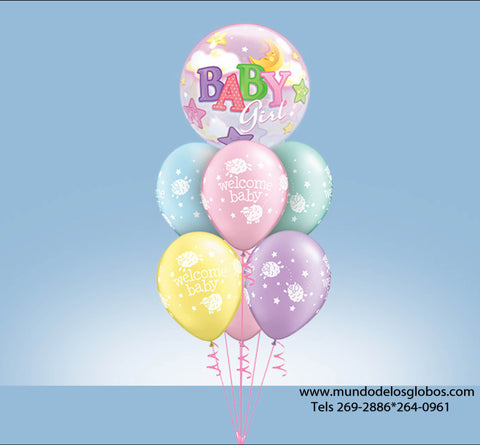 Bouquet con Burbuja Baby Girl y Globos de Colores Welcome Baby