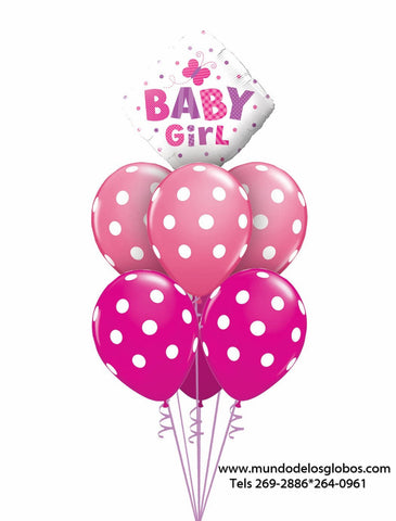 Bouquet de Diamanate Baby Girl con Globos Rosados