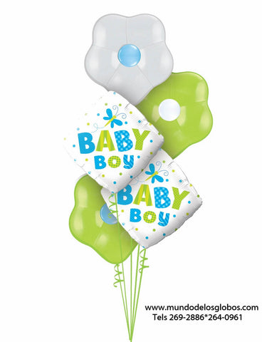 Bouquet de Diamantes Baby Boy con Globos de Flores de Colores