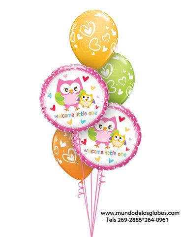 Bouquet de Globos con Buhitos Welcome Little One y Globos de Corazoncitos de Colores