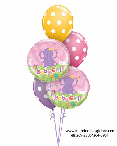 Bouquet de Elefantitos Baby Girl con Globos de Colores
