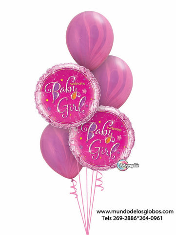 Bouquet de Globos Welcome Baby Girl con Globos Tie Dye