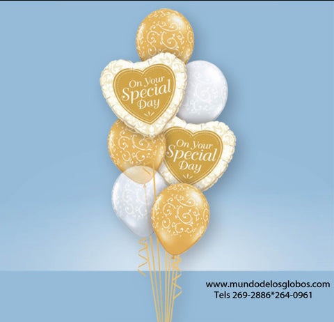 Bouquet de Boda con Corazones On Your Special Day, Globos Blancos y Oro