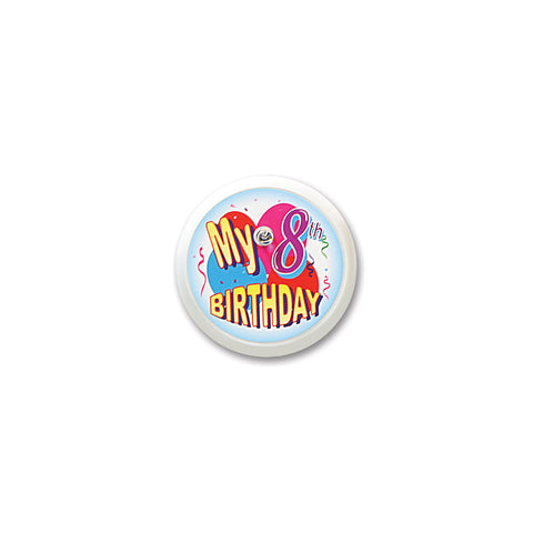 My 8th Birthday Blinking Button, Size 2""