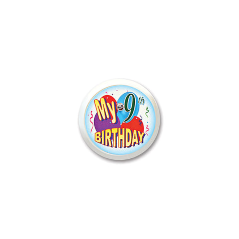 My 9th Birthday Blinking Button, Size 2""