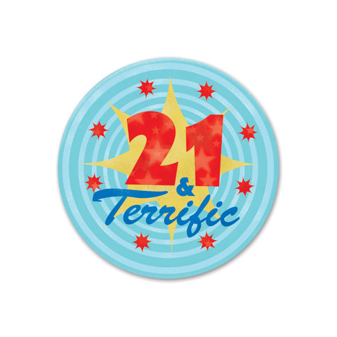 21 & Terrific Satin Button, Size 2""