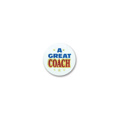 A Great Coach Satin Button, Size 2""