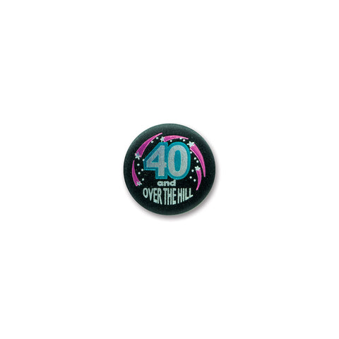 40 & Over The Hill Satin Button, Size 2""
